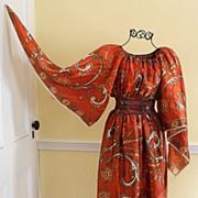Totally FAB Angel Sleeve Scarf Dress, c. 1970