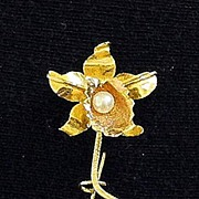 18K and Pearl Orchid Pin