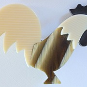 SALE Earth-toned Rooster Pin, by Lea Stein, Paris