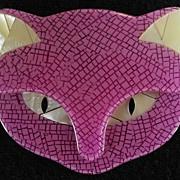 SALE Purple Cat Head Pin, by Lea Stein, Paris