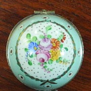 Limoges France Floral Hand Painted Pill Box with Thimble, c.1950
