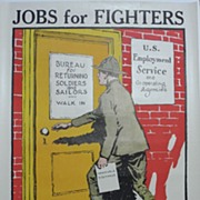 Rare Original WW1 Jobs for Fighters Poster, Gordon Grant, 1917