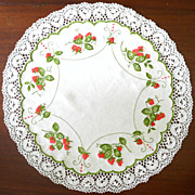 SALE PENDING Antique Society Silk and Cluny Lace Tablecloth or Table Topper Strawberries c. 19