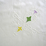 Arts & Crafts Natural Linen Embroidered and Drawn-work Tablecloth
