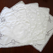 Six Vintage Linen Placemats Cutwork and Embroidery