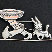 Mexican Sterling Boy and Burro Pin