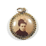 Double-sided Photo Watch Fob Mourning Pendant, circa 1910