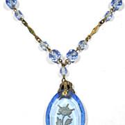 Hand Carved Intaglio Blue Glass Necklace, circa 1910