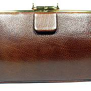 Waldman Brown Pebble Grain Leather Clutch, c. 1960
