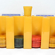 SALE PENDING Rare Yellow 1930's Bakelite Catalin Poker Chips Caddy and Chips