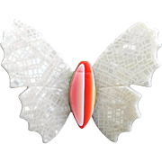 SALE White and Orange Butterfly Pin, by Lea Stein, Paris