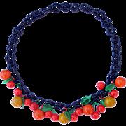 Vintage Bakelite Fruit and Petals Statement Necklace