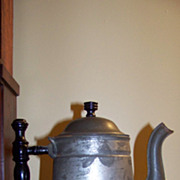 REDUCED Early Tin Ware Coffee Pot Never used Original Label Rochester Non Rust  Tin Ware