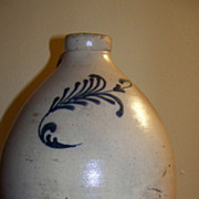 Salt Glazed Stoneware Jug C 1880 with Nice Cobalt Design