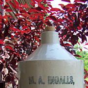 Antique 1877 Stoneware Jug 1 Gallon Size M.A Ingalls, Little Falls N.Y.