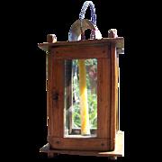 Nice Primitive Antique Wooden Barn Lantern Ca 1850-60