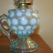 SALE Mix and Match Blue and Opalescent Coin Spot Finger Oil Lamp C 1890
