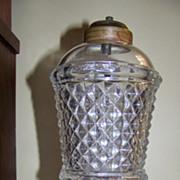 SALE Excellent C 1840 Sandwich Glass Whale Oil Lamp
