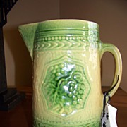 SALE American Yellow Ware Green and Yellow Milk Pitcher C 1885