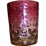 Cranberry and Amber Hobnail Glass