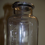 Large 19th C Poison Bottle with Original Lid and Unusual Metal Clasp