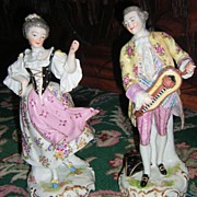 SALE Large Pair of Antique Figurines