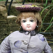"REDUCED 14"" Jumeau French Fashion Doll - Outstanding Antique Silk Dress - Wig/Shoes/Layaw"