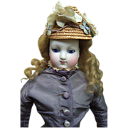 """SALE 15"""" Barrois Antique French Fashion Doll with Bisque Arms and Antique Gown - Layaway"""