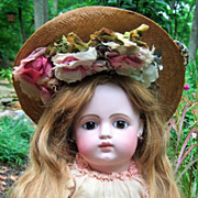 """SALE LAYAWAY 28"""" FG Block Closed Mouth French Antique Doll w/RARE Gesland Label COUTURE ."""