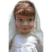 "18"" Raynal Cloth Doll Circa 1930 in Original Communion Dress - Layaway"