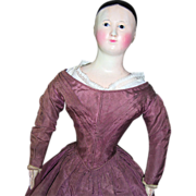 "SALE RARE 19"" Early FRENCH Mache Fashion Doll w/Original Body & Dress Circa 1840"
