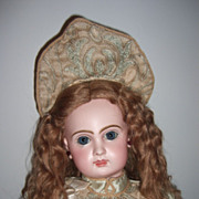 "REDUCED 22"" CM Tete Jumeau Antique Doll w.original earrings/wig - courtier Silk Dress! !"