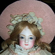 "REDUCED 14"" Jumeau French Fashion Antique Doll - Lovely Organdy Dress! Layaway!"