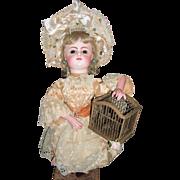 AMAZING Rare Leopold Lambert Automaton - FG Block Head Antique Doll - Fluttering Bird in Cage