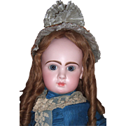 RARE Size 16 Jumeau Antique Doll with  Antique Couture Silk Dress, Hat, Shoes Layaway