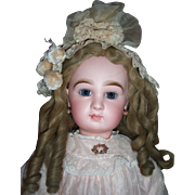 "25"" Transitional DEPOSE Tete Jumeau Antique Doll - Fabulous Pale Pink Antique Silk Dress"