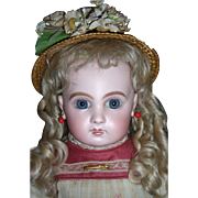 "18"" EJ Antique Doll Sz 8 With Original Wig - Layaway"
