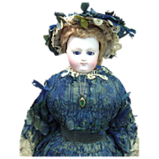 SALE EARLIEST RARE Marked Bru Antique French Fashion Doll w/Original Gown, Parasol, Wig - ...