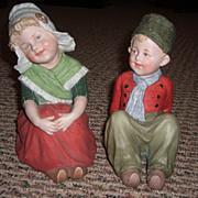 Adorable Pair of All Bisque Figurines by Gebruder Heubach - Layaway