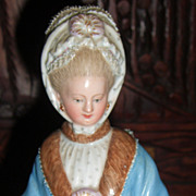 """SALE 8"""" Meissen Figurine of Lady with Racing Card & Muff - Layaway!"""