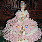 "SALE Gorgeous Dresden Lace Figurine - Woman in Ballgown 9"" Wide!"