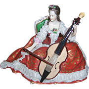 SALE Charming Dresden Figurine Volkstedt Woman Playing Cello