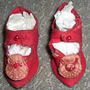 """SALE 2 3/4"""" Antique Red Silk Doll Shoes with Rosettes"""