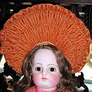 SALE Stunning Burnt Orange Velvet Doll Hat Bonnet