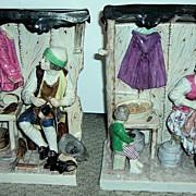SALE Large Pair of Antique Figurines - Shoemakers Shop!