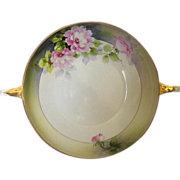 SALE Nippon Porcelain Bowl,Two handled Hand Painted Rising Sun Mark.