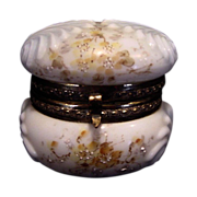 SALE Exquisite Wavecrest Opal Glass Hinged Box ~ Shell Design ~ Hand Painted with Yellow flowe