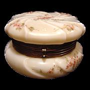 "SALE Wavecrest Large 6"" Wide Swirl Apple Blossom Opal Glass Dresser Box ~ Hand Painted wi"