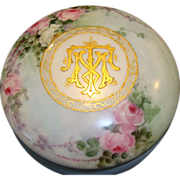 """SALE Beautiful 6"""" Limoges Porcelain Dresser / Trinket Box ~ Hand Painted with Pink & White ."""
