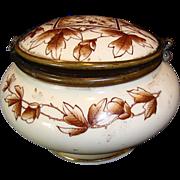 SALE Wonderful Old Porcelain Hinged Dresser Box ~ Brown Transfer Panel with Birds & Leaves